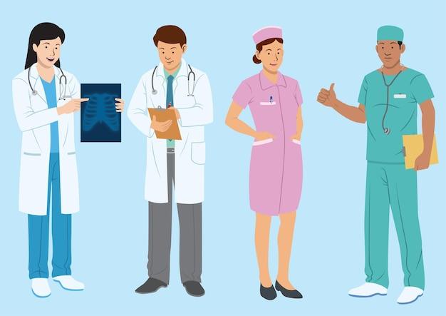 Набор врачей и медицинских персонажей