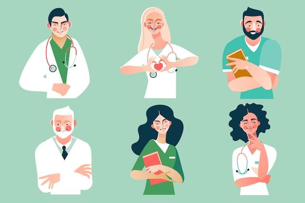 의사와 의료 간호사 캐릭터 컬렉션.