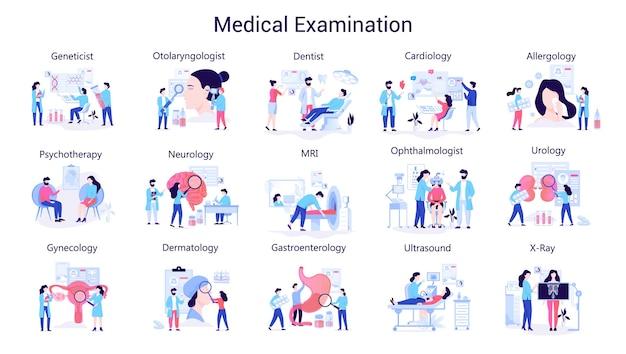 医者と医学の大きなセット。健診のコレクション。眼科医、医師、セラピスト、研究室の労働者。図