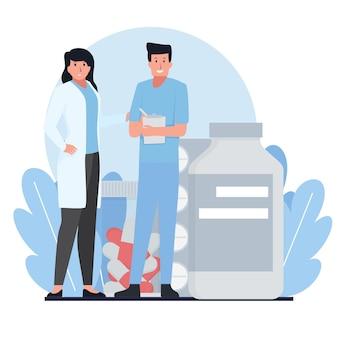 의사와 간호사가 약 앞에 서 있습니다.