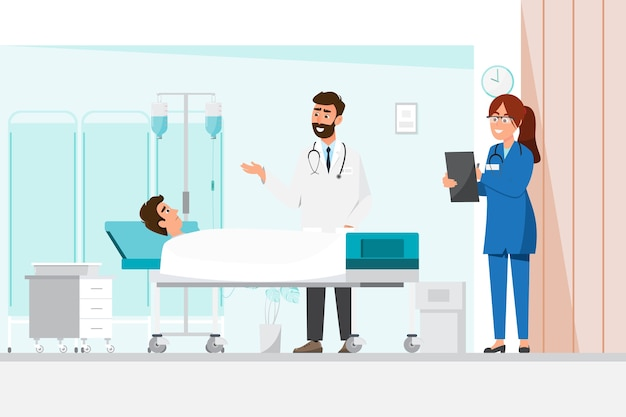 Врач и медсестра, стоя с мужчиной, лежа на кровати. иллюстрация в плоском стиле мультипликационного персонажа