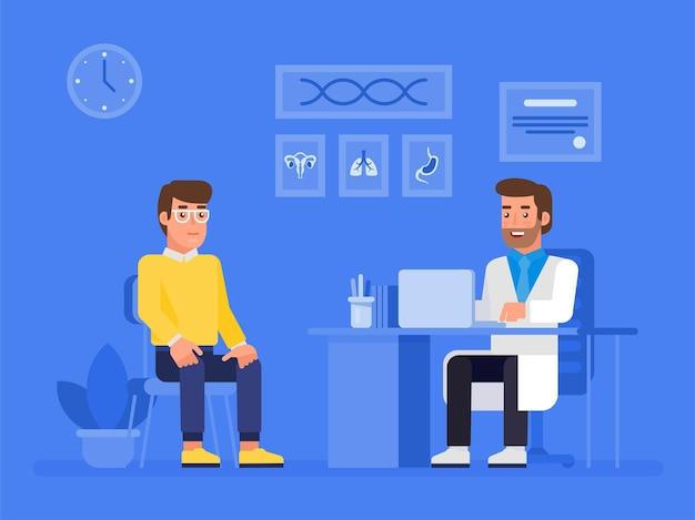 Врач и пациент концепции баннер с персонажами. консультация пациента.
