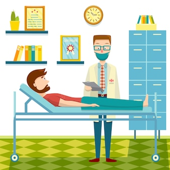 Врач и пациент плоский дизайн