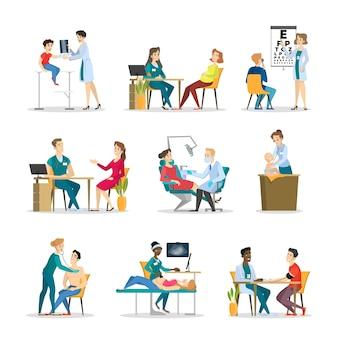 Набор врача и пациента. сбор людей
