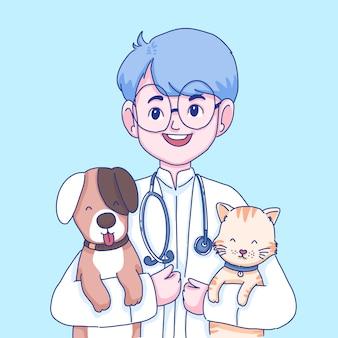 医者とペットのイラスト。