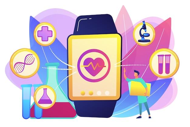 心臓と医療のアイコンと医師とスマートウォッチ。スマートウォッチヘルストラッカーとヘルスモニター、白い背景の上のアクティビティ追跡の概念。明るく鮮やかな紫の孤立したイラスト