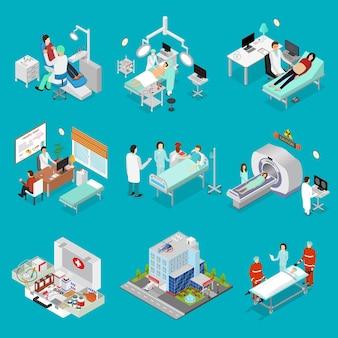 의사와 의학 디자인 요소의 상징은 아이소메트릭 뷰 클리닉 건물을 설정합니다. 벡터 일러스트 레이 션