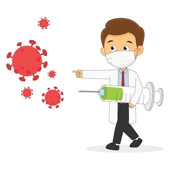 코로나 바이러스 covid 19와 싸우는 의사와 백신