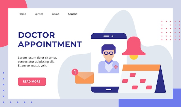 Doctor appointment smartphone screen schedule calendar reminder email notification campaign for web website home homepage landing page