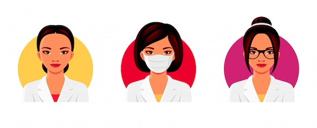 Doctor asian woman character in white medical uniform with various hairstyles, glasses and medical face mask. female avatars set.  illustration.