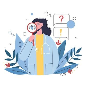 医者は患者に健康問題について尋ね、病歴をとります。学際的な病院のコンセプト、オンライン医療クリニック