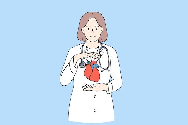 心臓専門医と健康な心臓の概念