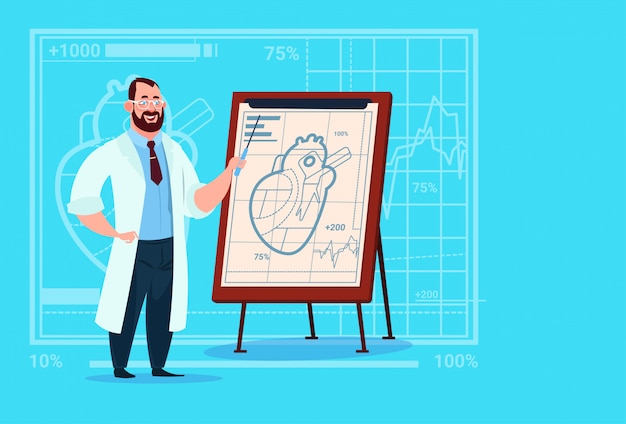 Doctor cardiologist over flip chart with heart medical clinics worker hospital