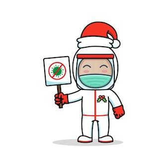 クリスマスの日に戦いコロナサインを運ぶ医師