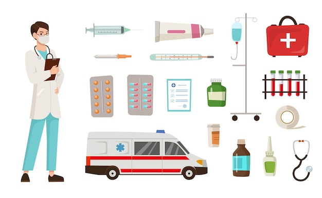 Doctor cartoon character and equipment illustrations set