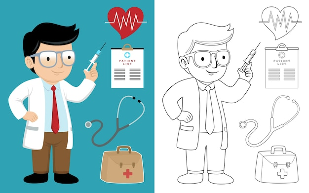 Doctor cartoon holding syringe with medical equipment