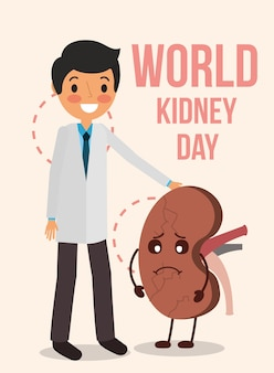 Doctor and cartoon organ human world kidney day
