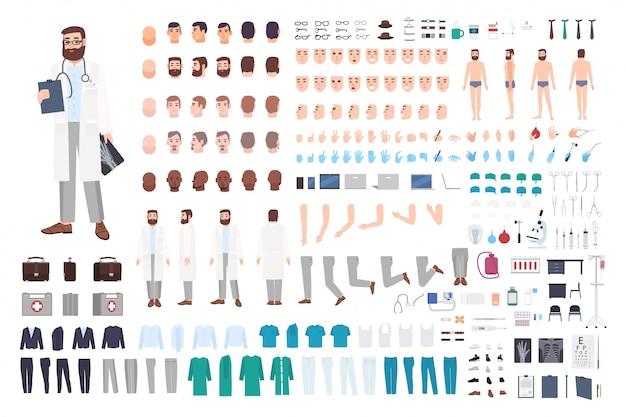 医師キャラクターコンストラクター。男性医師作成セット。さまざまな姿勢、髪型、顔、足、手、アクセサリー、服のコレクション。漫画イラスト。男、正面、側面、背面図。