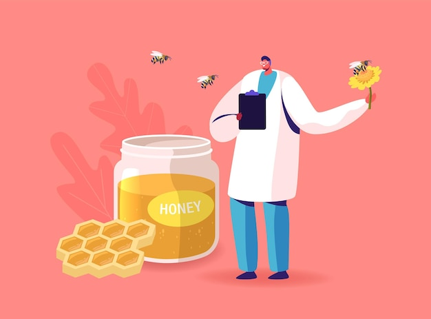 Doctor character hold flower with bee flying around glass jar with honey and honeycombs with bees flying around