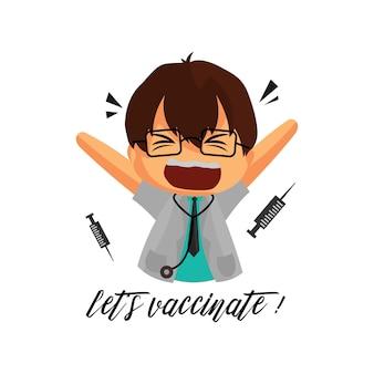 医者のキャラクターlet.sはコロナウイルスの医療従事者に予防接種をします