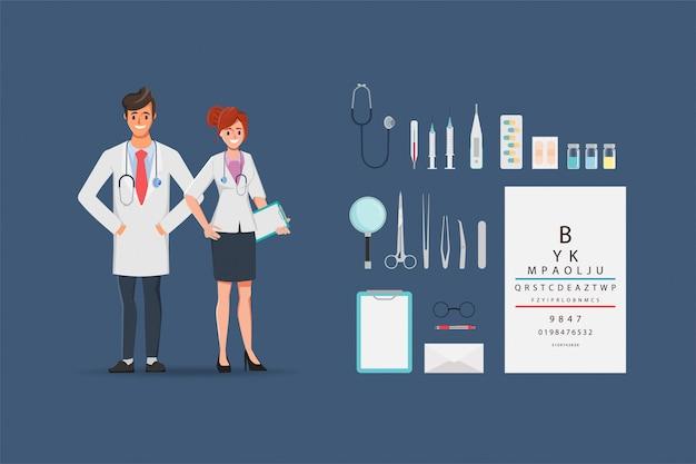 Доктор характер медицинских людей в больнице и оборудование.