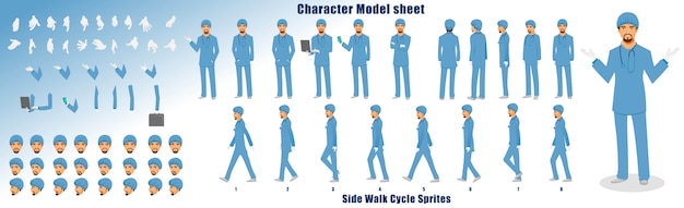 Doctor character model sheet with walk cycle animation sequence