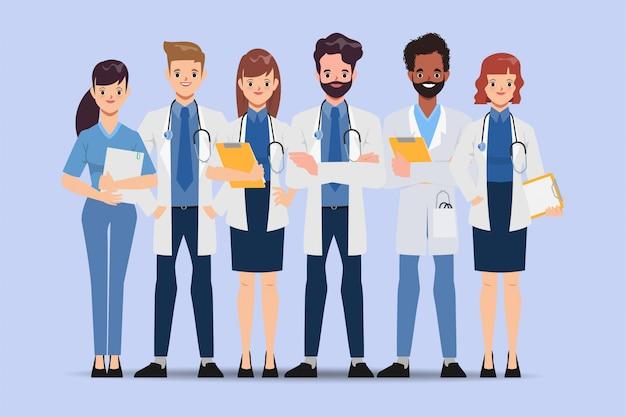 医師のキャラクターは病院でチームワークにポーズします。