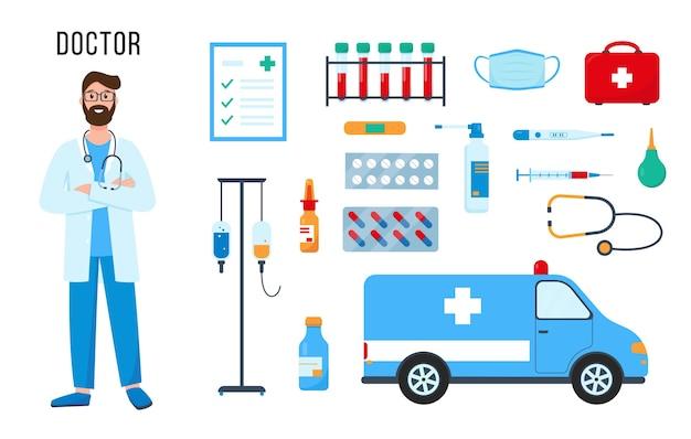 Доктор персонаж, набор лекарств и оборудования для его работы, изолированные на белом фоне.