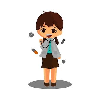 医師のキャラクター立っている聴診器コロナウイルス医学労働者を保持します