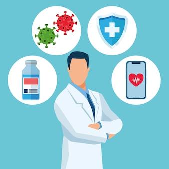 Доктор персонаж с иллюстрацией иконок вакцины