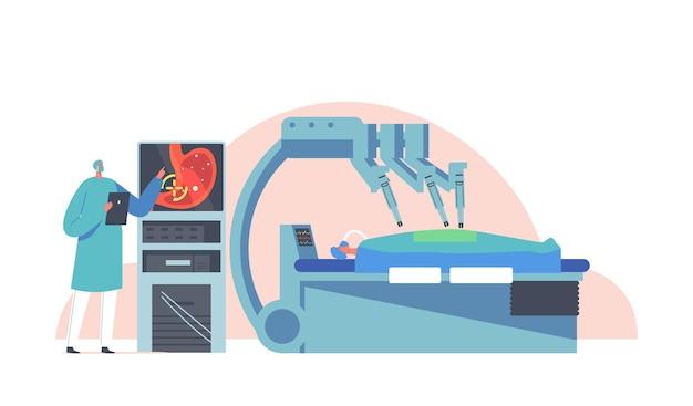 医師のキャラクターは、医療用ロボットを使用して患者の手術のためにサイボーグアームを遠隔操作します。身体への外科的介入