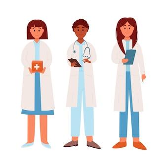 의사 캐릭터 의료 병원 직원 사람들