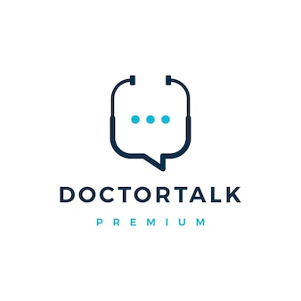 Doctor chat talk logo icon illustration