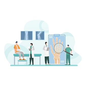 Doctor check of broken fingers isolated flat illustration