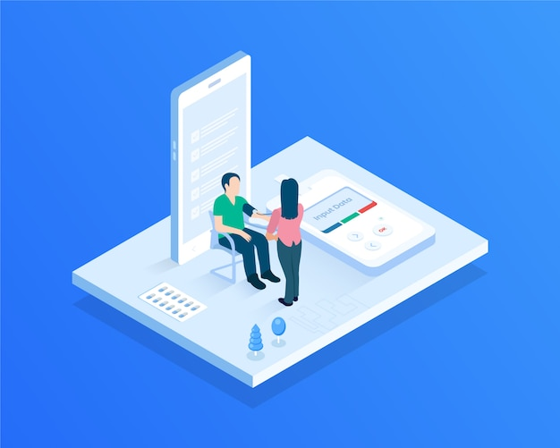 Doctor check up isometric illustration