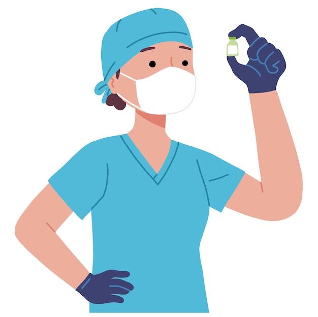 의사는 covid 코로나 바이러스 전염병에 대한 백신 복용량을 확인합니다.