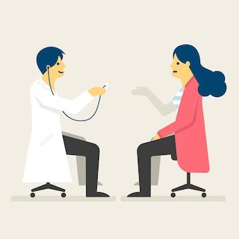 医者は、女性の健康のイラストをチェックしています。