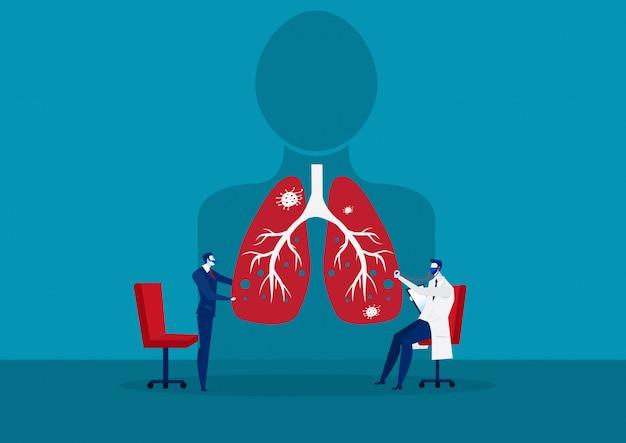 コロナウイルスのcovid 19からの治療のために肺をチェックする医師