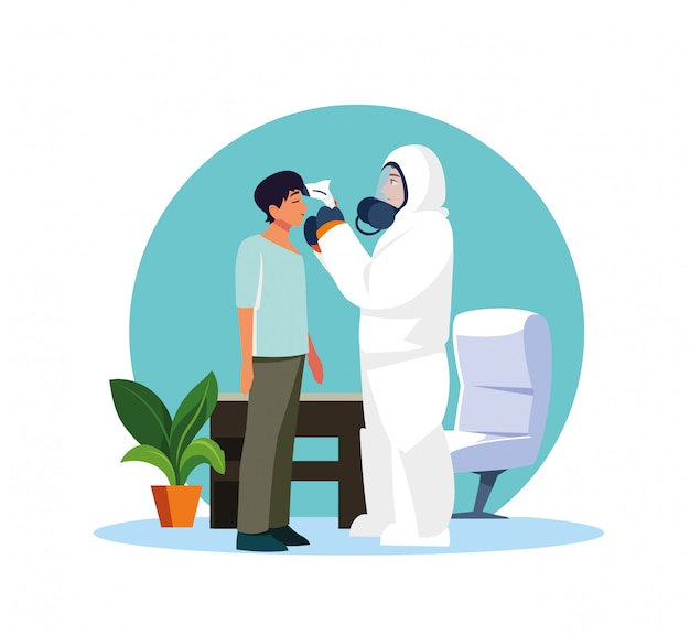 Doctor checking man temperature at home vector design