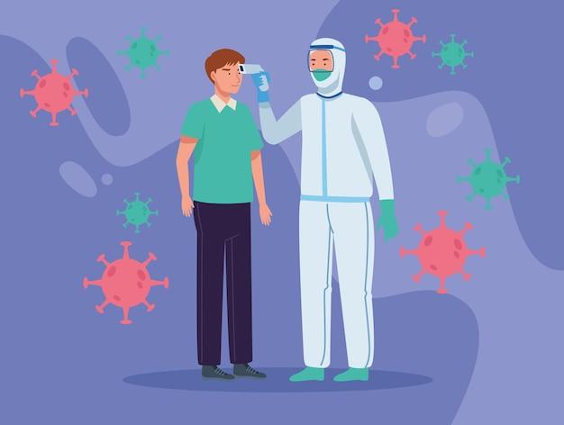 男性に体温をチェックする医師