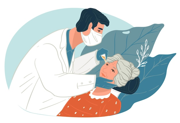 의사는 고위 인물의 시력을 확인합니다. 할머니에게 안약을 주는 안과 의사. 환자의 시력에 관한 진단. 질병의 검사 및 치료. 평면 스타일의 벡터