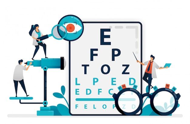 Врач проверяет здоровье глаз пациента с помощью snellen диаграммы, очков для глазных болезней. глазная клиника или магазин оптических очков. векторная иллюстрация, графический дизайн