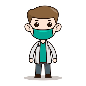 Doctor chibi character design with mask