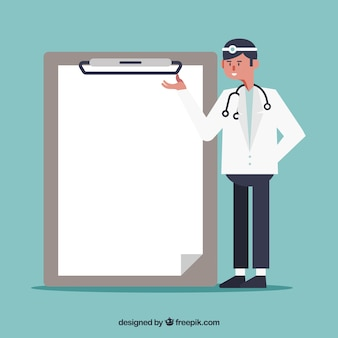 Doctor next to clipboard