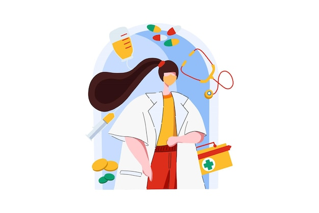 Doctor come to check web illustration