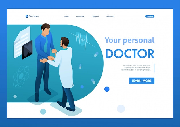 Doctor communicates with the patient. health care concept. 3d isometric. landing page concepts and web design