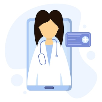 A doctor conducts a consultation via video link remote medical care