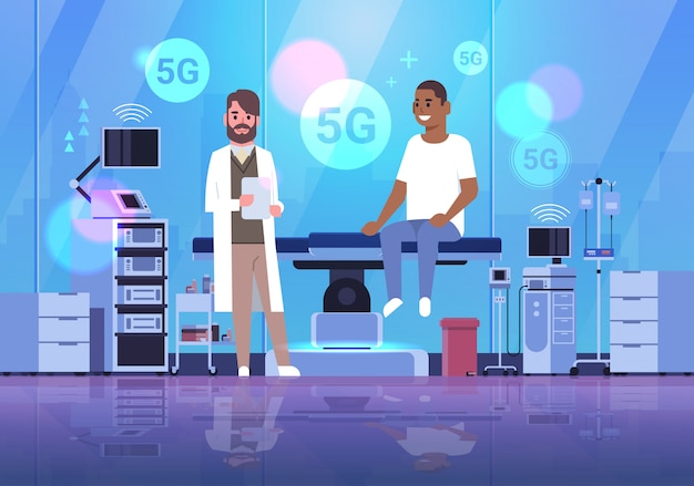 Doctor consulting african american patient 5g online wireless connection concept