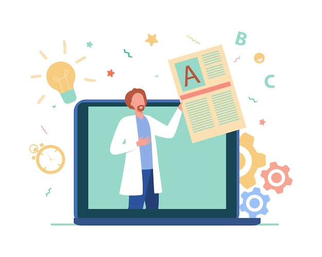 オンラインでクライアントに相談する医師。