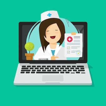 Doctor consulting online via laptop computer as tele-medicine illustration flat cartoon modern design